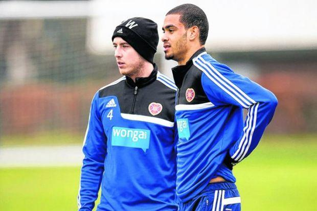 Paul McCallum, Hearts' new loan signing, with captain Danny Wilson at training yesterday. Picture: Rob Casey/SNS