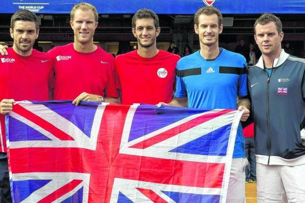 Colin Fleming, Dominic Inglot, James Ward, Andy Murray and captain Leon Smith  after defeating USA. Picture: Reuters