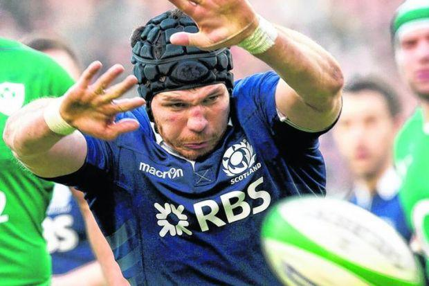 Tim Swinson in action during Scotland's limp defeat in Dublin on Sunday. Picture: Alan Harvey/SNS