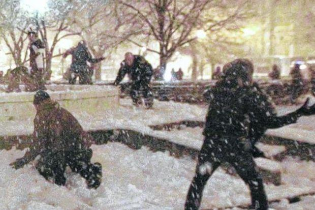 the Glesca snowball fight is a wee bit removed from the slipping and sliding about to get under way at that Russian place.  Picture: AP