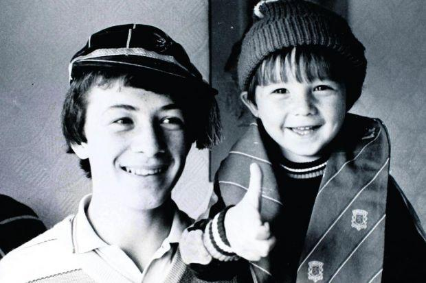 Hat'll do nicely . . . Derek, left, with wee brother Barry back in the day . . .