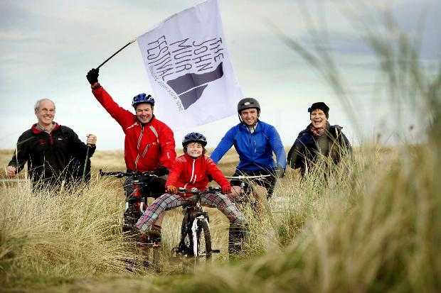 Pictured are 10-year old Baillie Cairns,Ford with cyclists Colin Cairns Fordall and Nathan Gale from Dunbar and walkers John Meldrum and Ute Penny. Picture: Colin Hattersley