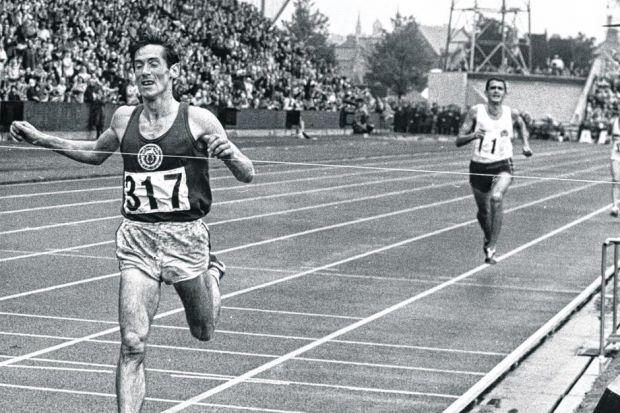 Ron Clarke trails in Lachie Stewart's wake as the Scot storms home to victory in the 10,000m at the 1970 Commonwealth Games in Edinburgh. Picture: Herald Archive