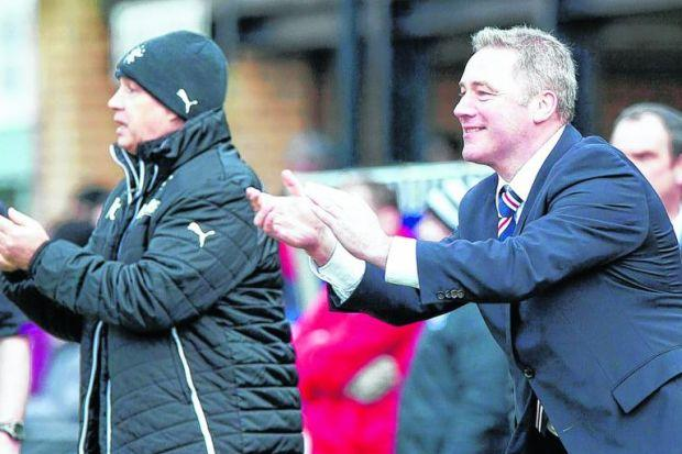 Ally McCoist tries to encourage his players during Rangers' 2-0 victory away to Ayr United on Saturday. Picture: SNS