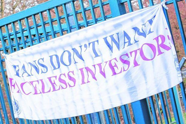 Rangers supporters make their feelings with a banner hung at Murray Park. Picture: Ross Brownlee/SNS Group