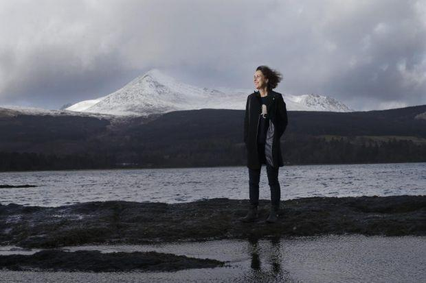 Kirsty Wark on Arran with Goatfell in the distance. Photograph: Colin Mearns