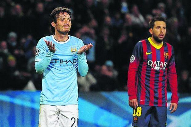 David Silva was unable to stop Barcelona winning at the EtihadPhotograph: Getty