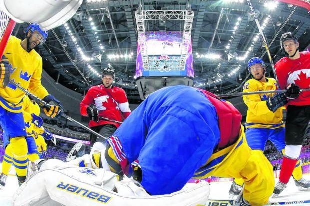 Sweden's goaltender Henrik Lundqvist makes a save against eventual winners Canada in the gold medal match in Sochi. Picture: Martin Rose/ Getty Images