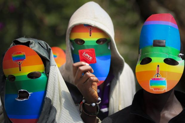 ANGRY: The new anti-gay laws in Uganda has sparked demonstrations in a number of areas, but many are afraid to show their faces. Picture: EPA