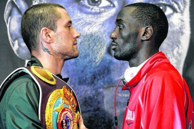 Ricky Burns comes face to face with the man who wants his WBO crown, Terence Crawford. Picture: Jamie Simpson