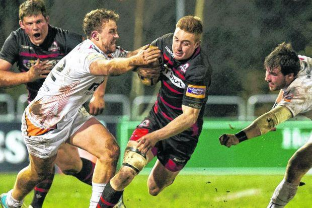 Dougie Fife, centre, is closed down by Ospreys pair Ashley Beck, left, and Scott Baldwin. Picture: Craig Watson/SNS