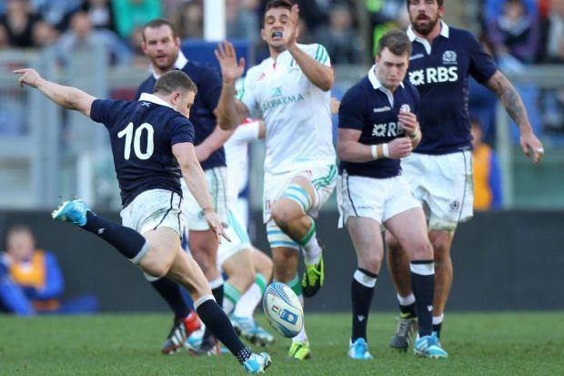 Duncan Weir becomes the hero in Rome when his drop kick wins Scotland the game   Photograph: Getty