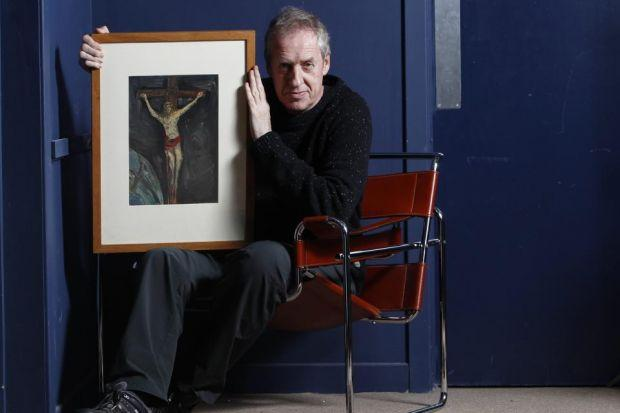 AUCTION: Peter Howson with his first oil painting, completed when he was six, now to be sold. Picture: Mark Gibson