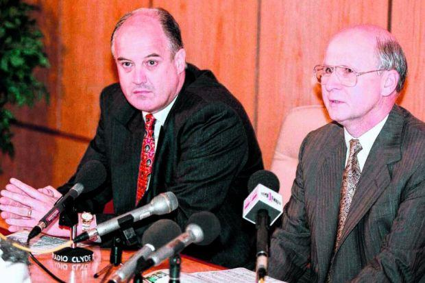 Jock Brown with Fergus McCann at a press conference during the 1997/98 season. Picture: SNS