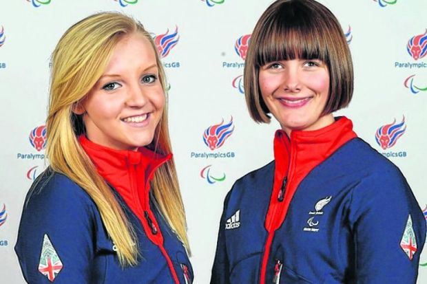 Guide Rachael Ferrier, left, with Millie Knight, who has been confirmed as GB flagbearer at tonight's opening ceremony. Picture: Getty Images