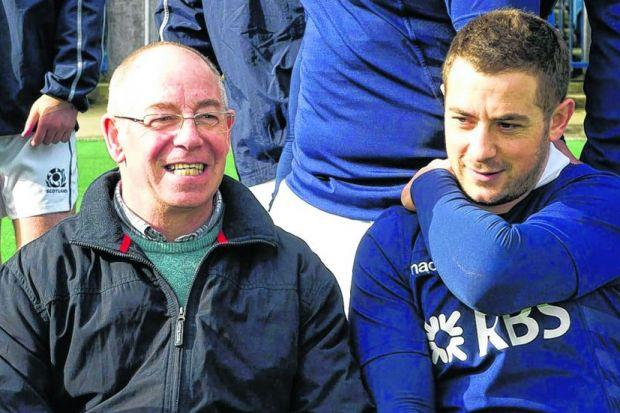 Former Scotland scrum-half Roy Laidlaw sits alongside nephew Greig at Murrayfield yesterday. Picture: SNS