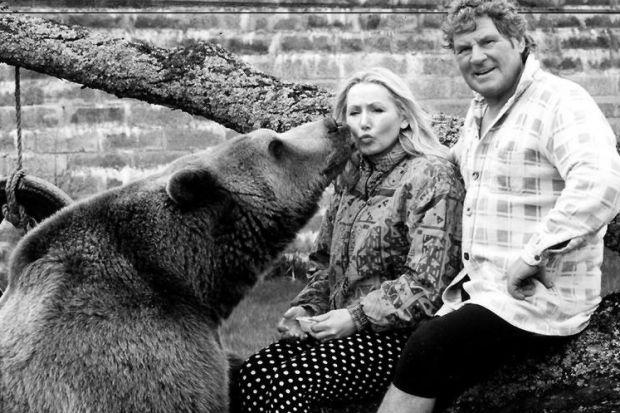 GRIZZLY: Maggie and Andy Robin, with Hercules the bear.