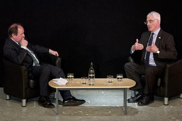 CHALLENGE: James Naughtie in conversation with Alistair Darling at the Mitchell Theatre in Glasgow last night, as part of a series of events sponsored by The Herald. Picture: Mark Gibson