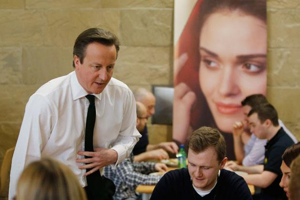 David Cameron talks to Scottish Widows staff