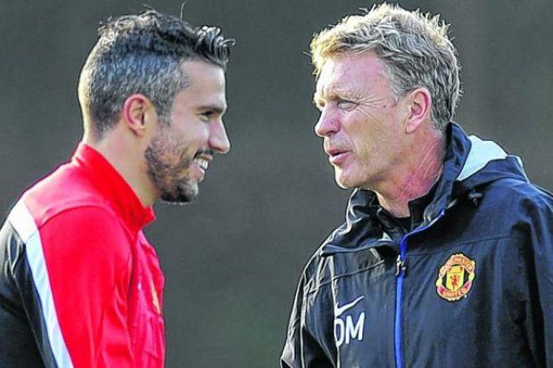 Robin van Persie is happy working with David Moyes. Picture: Getty