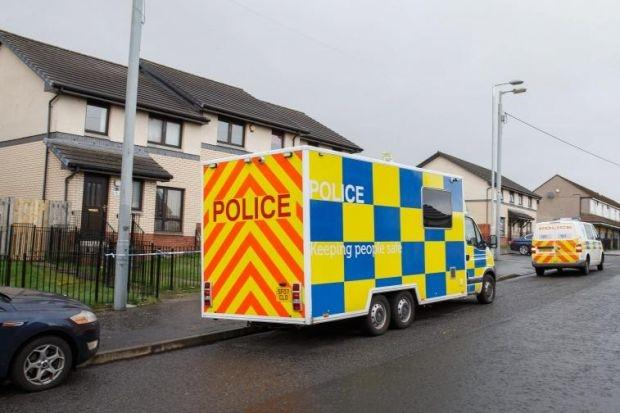 Police at scene in Conisborough Road, Easterhouse