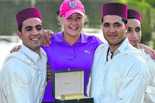 Charley Hull is held with her winners' trophy after the final round of the Lalla Meryem Cup at Ocean Course in Agadir, Morocco, on Sunday.  Picture: Stuart Franklin/Getty Images