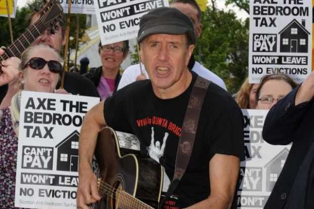 ALAN SMART:  Sang songs outside Scottish Tories' conference.