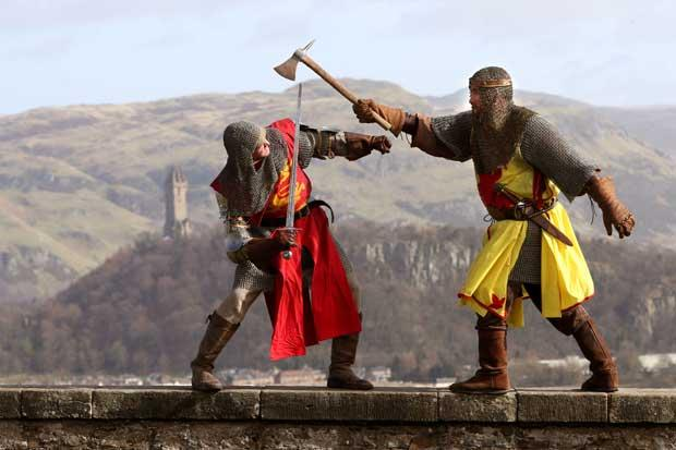 Roy Ramsey (right) as Robert the Bruce with Roy Murray as Edward II during the launch of the Bannockburn Live festival