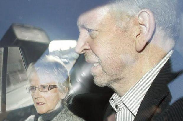 NO COMMENT: Former MSP Bill Walker leaves Dumfries Prison yesterday with wife June after being freed under automatic early release rules . Picture: Danny Lawson