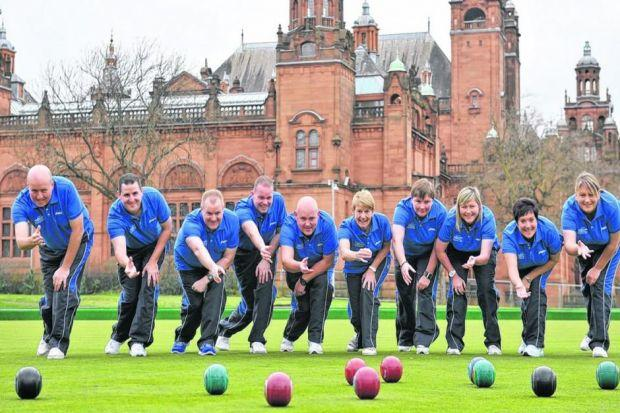 David Peacock, Neil Spiers, Darren Burnett, Paul Foster, Alex Marshall, Lauren Baillie, Margaret Letham, Caroline Brown, Claire Johnstone  and Lorraine Molloy pose after Commonwealth Games Scotland announces the 10 bowlers selected for Glasgow 2014. Pictu