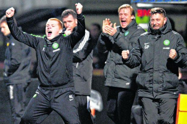 Neil Lennon celebrates another goal at Firhill as his Celtic side cruised to their third straight championship win. Picture: Jamie Simpson