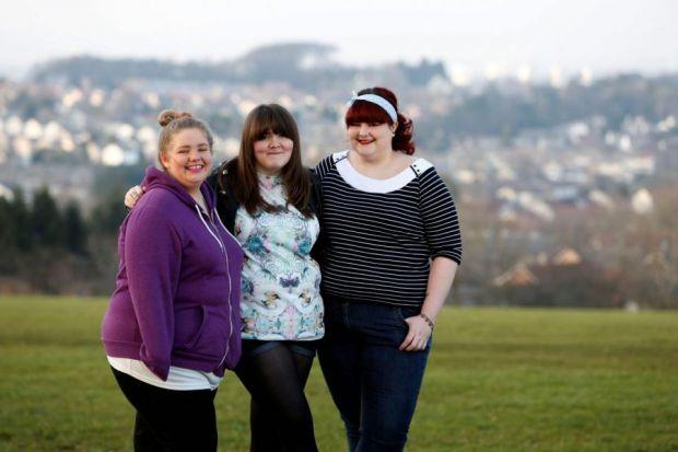 SUPPORT: Tamara Reynolds, 16, Emma Alford, 18, and Jade Bourne, 18, are involved in new youth mental health initiative Project 99.     Picture: Martin Shields