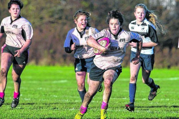 Ayr's girls compete at December's launch of the Brewin Dolphin Girls' Cup at the Wardie Playing Fields in Edinburgh. Picture: Billy Murray/SNS