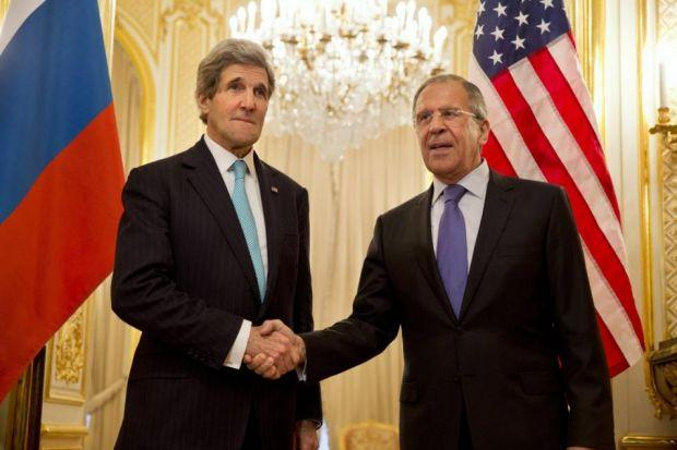 DIPLOMACY: Sergey Lavrov and John Kerry seek a resolution.