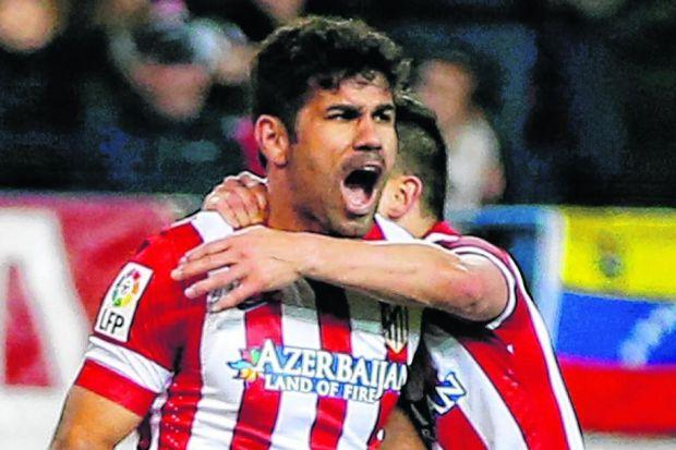 Diego Costa has a better shot-to-goal ratio than both Cristiano Ronaldo and Lionel Messi and has scored 33 times this season. Picture: Reuters