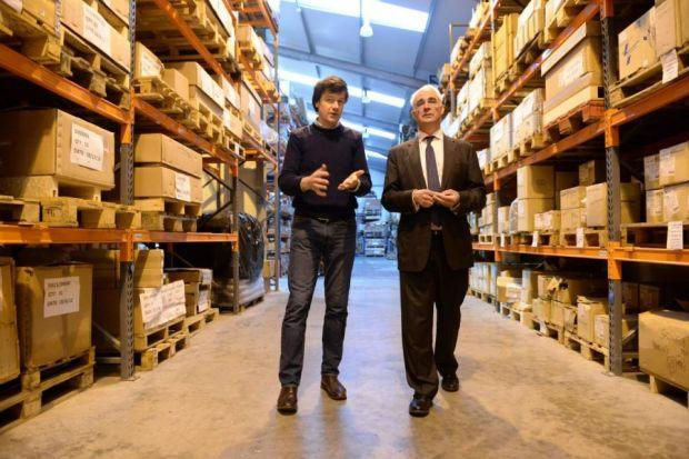 RAISING FEARS: Alistair Darling tours White House Products with managing director Alastair MacMillan, who backs the No campaign. Picture: Ni