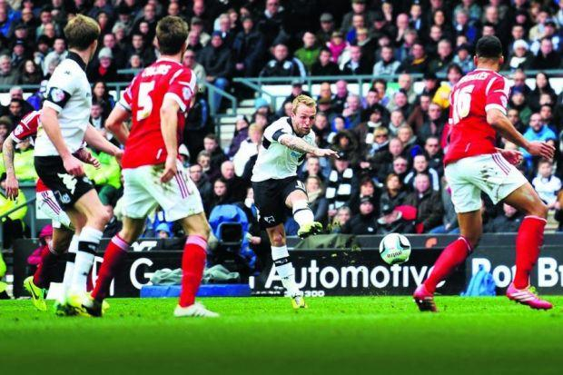 Johnny Russell fires home Derby County's fourth goal in last months 5-0 rout of Nottingham Forest