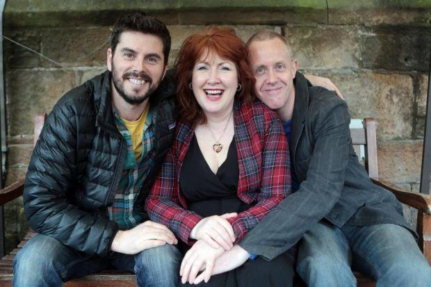 From left, Adam Robertson, Libby McArthur and Mark MacNicol are all involved in Three Thousand Trees, a play about Willie McRae, above, who was found dead in a crashed car with a gunshot wound to his headMain photograph: Mark Mainz