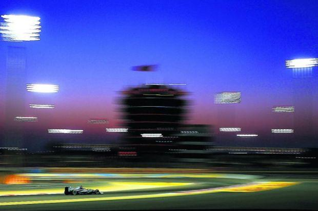 Mercedes' Nico Rosberg on his way to posting the fastest time in qualifying in Bahrain Photograph: Getty
