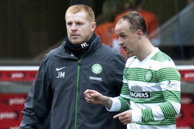 Neil Lennon waits to send on Leigh Griffiths as a substitute on Saturday. Picture: SNS
