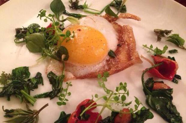 Fried duck egg, scarlet elf cups, foraged herbs