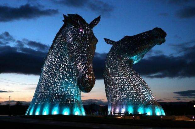 NO LAME EXCUSE: The enormous Kelpies horse head structures were lit up for the first times ahead of the official public opening next week