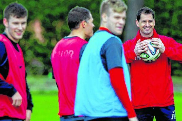 Jackie McNamara trains with his squad ahead of their Scottish Cup semi-final. Picture: SNS