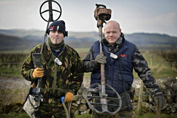 Gus Patterson and Derek McLennan bonded at a poker night and go metal detecting twice a week, whatever the weather. Photographs: Jamie Simpson