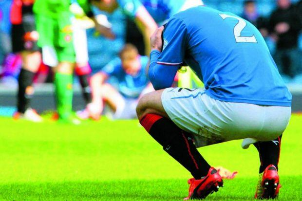 Rangers' Richard Foster is down and out after his side lost 3-1 to exit the Scottish Cup.
