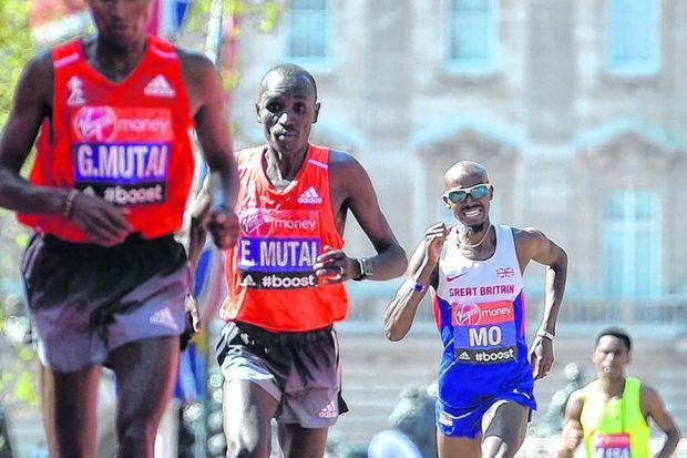 Mo Farah on his way to finishing eighth, 3min 52sec behind winner Wilson Kipsang. Credit: Getty Images