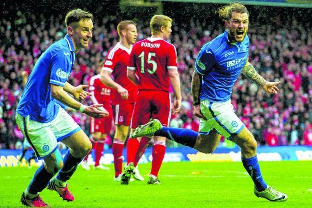 Stevie May, on advice from more experienced team-mates, decided to stay at St Johnstone in January to try to win a trophy in Perth. Picture: SNS