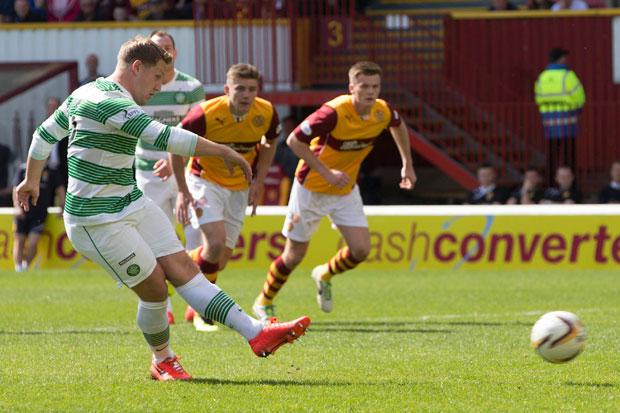 Celtic's Kris Commons has his penalty saved during the Scottish Premiership match at Fir Park