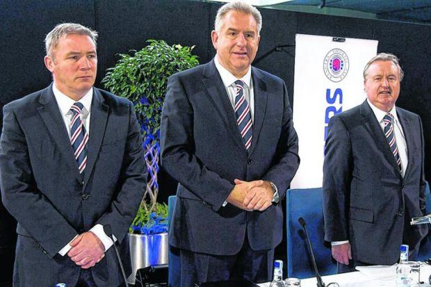 Graham Wallace, centre, with Ally McCoist and David Somers at the agm. Picture: SNS