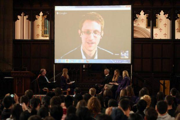 ELECTED: Edward Snowden attended his inauguration via video link.